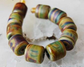 10 Mini Raku Barrels Rolos Handmade lampwork beads , etched or glossy , glass beads by Beadfairy Lampwork SRA
