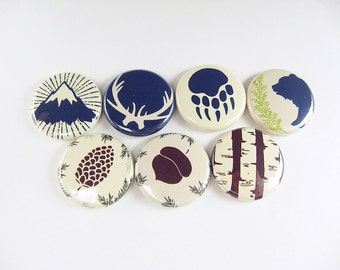 7 Fridge Magnets, Wine Charms, Pins - mountain, camping, bear, acorn, pinecone, antlers, tree - home living, organization, kitchen  1249
