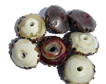 Handmade Disk Lampwork Glass Beads ivory deep plum raku