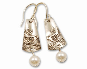 Sparrow Earrings - Sterling Silver Bird Jewelry with White Pearl Drops and Hypoallergenic Wires