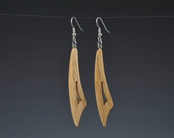 Small Wooden Curve Earrings - Pierced Earrings - Upcycled Recycled Wood Pallet Handmade Recycled Jewelry by Mark Noll - Gift for Her