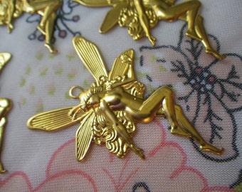 Brass Fairy Pendants 45x27mm 4 Pcs