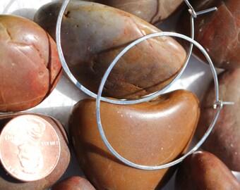 Medim hammered sterling silver hoop earrings simple classic silver hoops