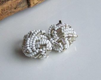 Vintage Earrings, White Seed Bead Earrings, Seed Bead Earrings, Costume Jewelry, Vintage Jewelry, Etsy, Etsy Jewelry, Etsy Vintage