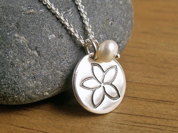 Small Plumeria Charm with Pearl Necklace white tropical flower blossom unique handmade recycled fine silver disc charm on sterling chain