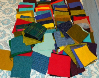 Penny Rug Hooking felted dyed  Applique Quilt 100 pure wool squares 4 in by 4 in