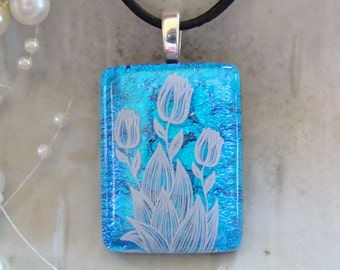 Dichroic Glass Pendant, Fused Jewelry, Floral, Blue, Necklace Included, A2