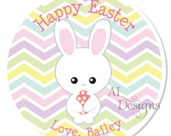 Personalized Stickers -- Easter Bunny -- Personalized Easter Stickers, Personalized Easter Label -- Choice of Size