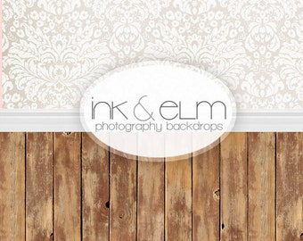 TWO in ONE Backdrop 5ft x 10.25ft, Vinyl Photography Backdrop, all in one backdrop, Elegance Damask Knotty Wood Floor All in One Backdrop