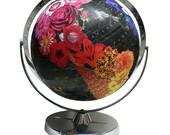 Vintage Globe Art, Bloom, Flower Globe, Black World Globe Art