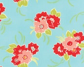 Fabric, Flannel Fabric, Moda Fabric, Moda Miss Kate  Plush FLANNEL Blossom Aqua by Bonnie and Camille Vintage Modern, SALE