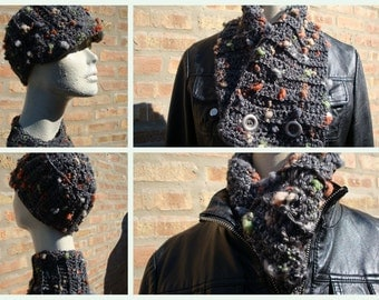 Dark Grey Blend Hat and Neckwarmer  - Cap and Scarf - Crochet -Warm and Cozy - Custom Colors