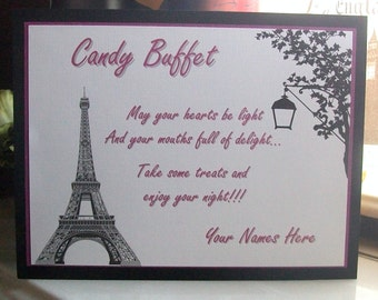Candy Buffet - Sweets Table - Instructions Sign - Customize For Your Event - Three Layers - Eiffel Tower - Paris