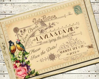 Tallulah - Vintage Victorian Love Birds and Roses - Printable DIY Wedding Save the Date Cards - Customized and Personalized