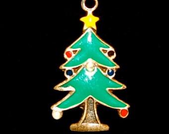 Vintage Christmas Tree Charm Sterling, Ships Free