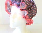Vintage Shower Caps Hot Pink Polka Dots, Adult Size  - Wipeable and Washable, BPA FREE