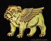 BULLDOG ANGEL Pin / Bulldog Puppy Jewelry for Dog Lovers by Cloud K9 / Bulldog Brooch for Pet Loss, Sympathy ... Pet Memorial