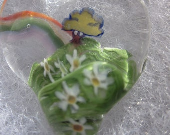 RAINBOW FOREST Glass Charm with GLOW in the Dark 3D Cloud Colorful Fun Focal Pendant Daisies & a Tree made with Love by Helen Lee Hoffman