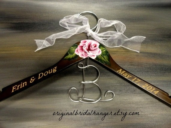 Custom Wedding Dress Hangers Bridal Hangers Elegant Bridal Hanger Brown Wood Hanger Engraved Names and Date Hand Painted Flower Photo Props