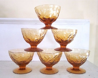 Amber Glass Dessert Dishes - Set of Six - Footed Bowls