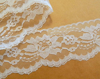"White Lace Trim Flat White 3"" wide Lace 10 yds/360 in."