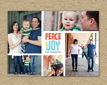 Peace and joy holiday card, photo Christmas card, modern photo card, Christmas photo card
