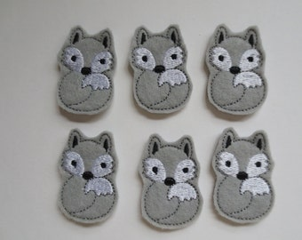 Grey Felt Machine Embroidered Foxes - 301