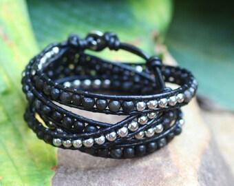 Smoky Quartz and Silver Leather Wrap Bracelet