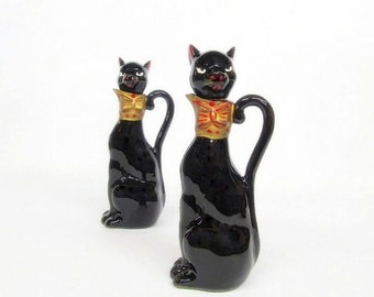 Vintage Black Cats, Cat Decanters, Oil and Vinegar Cat Bottles, Cat Figurines, Art Deco Cats, Cat Containers