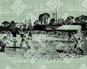 Digital Download Cricket Game, digi stamp, digital stamp, English Sport, British UK Great Britain, Antique Illustration, Digital Transfer