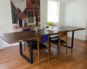 Custom Live Edge Wood Dining Table with Steel Legs