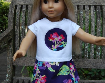 Handmade Doll clothes /  18 inch doll clothes -  Amy Butler's Water Bouquet Fabric Skirt outfit