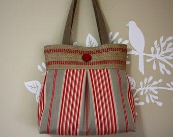 Red and Gray Stripes Handbag / Purse with Jute Webbing Band