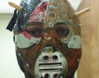 Dystopia Rising Retrograde Junk Punk Frankenmask hand made hockey mask halloween