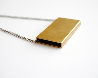 Brass Rectangle Necklace - FREE US Shipping