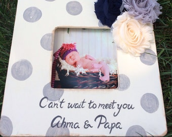 Custom Painted Boutique Ultrasound Sonogram Baby Keepsake Picture Frame Distressed Polka DotsChoose Colors