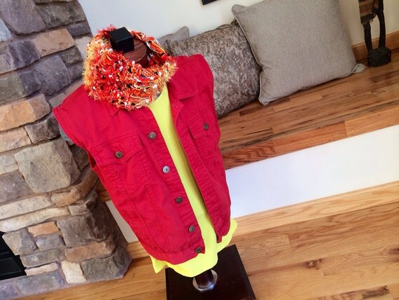 Red and Yellow Scarf Red Circle Scarf Red Cowl Red Neck Warmer FIRE Scarf with White and Black