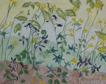 "Original Floral Art Oil Painting Plein Air Wild Flower Spring Impressionist Abstract Landscape Quebec Canada Fournier ""Sweet Columbines"