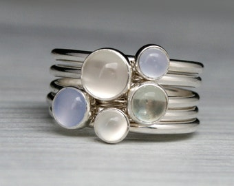 Luminous Gemstone Stacking Rings, Sterling Silver, Stackable Set of 5 Rings, Moonstone, Green Amethyst Prasiolite, Blue Chalcedony