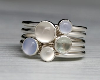 Luminous Gemstone Stacking Rings, Sterling Silver Stackable Set of 5 Rings, Moonstone Ring Green Amethyst Prasiolite & Blue Chalcedony Ring