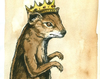 MOngoose King 5 x 7 (an original hand painted king)