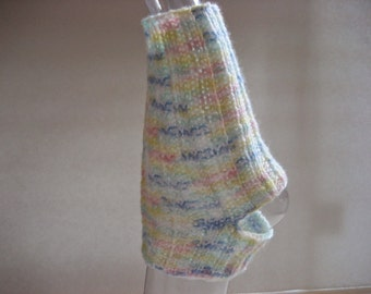 CLEARANCE SALE Hand Knit Toeless Socks, Size 11-12, Pastels White, Handmade with Vegan Friendly Yarn, Foot Ankle Warmers Heelless, Yoga Exer