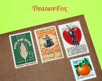 Apples and Oranges .. Unused Vintage Postage Stamps .. to mail 10 letters. Orchards, Fall festivals, Florida fruits, Country living, crafts