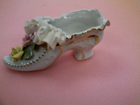 Porcelain victorian style shoe with flowers and lace  Vintage  Made in Japan 1950's  gift  home decor  collectible