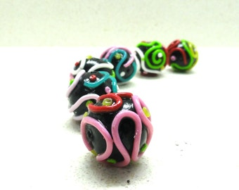 Supplies beads multicolored on black beads  polymer clay beads round HOLLOW beads