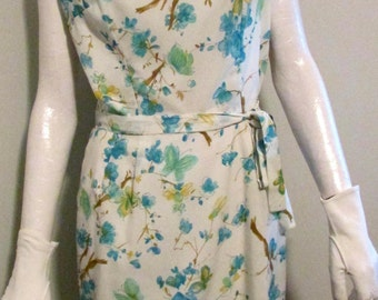 "Georgia Griffin Fashions 60's Dress Sping Summer Wiggle Dress Floral Blue Floral Print Bust 39"" Waist 28"""