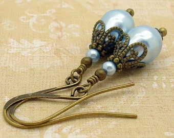 Blue Victorian Earrings with Swarovski Pearls in an Edwardian Style