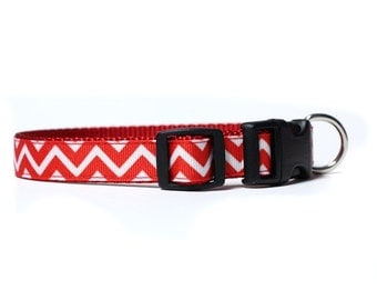5/8 or 3/4 Inch Wide Dog Collar with Adjustable Buckle or Martingale in Love Chevron