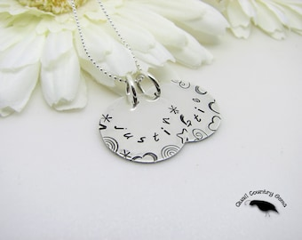 Personalized Hand Stamped Mother Necklace Sterling Silver