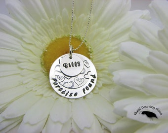 Personalized Hand Stamped Necklace Pendant in Sterling Silver